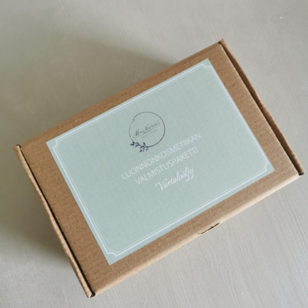 vartaloöljy valmistuspaketti ruskeassa pahvilaatikossa vihreällä etiketillä